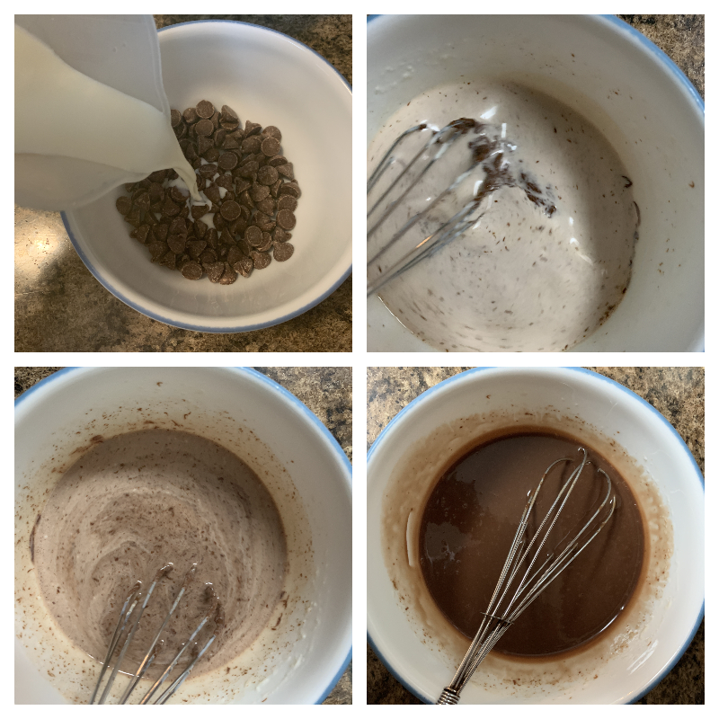 collage of images showing the progression of making chocolate ganache for topping a mint chocolate bundt cake