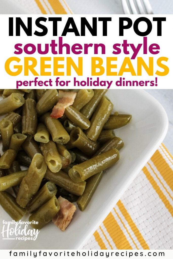 white plate of southern style green beans cooked in the Instant Pot