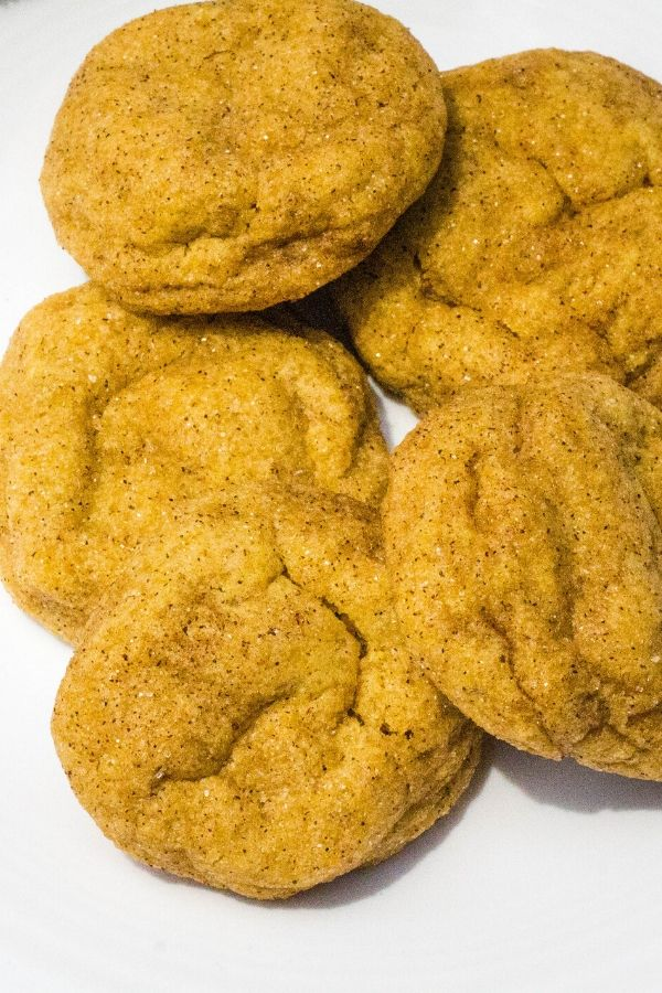 several pumpkin snickerdoodles on a plate