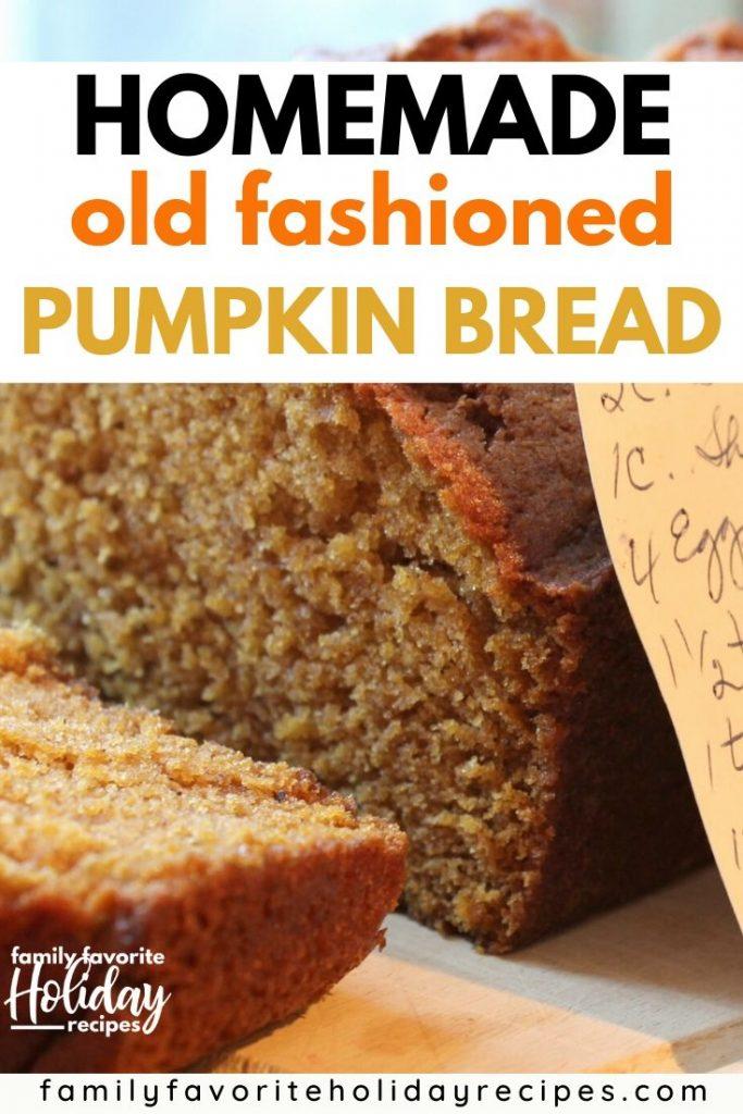 loaf of pumpkin bread next to a handwritten recipe card