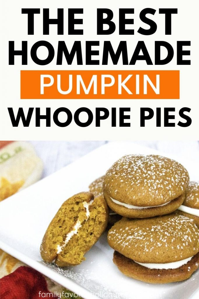 white plate with a stack of pumpkin whoopie pies on it