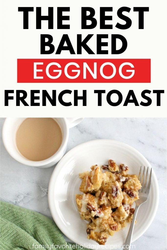plate of eggnog french toast casserole next to a cup of coffee