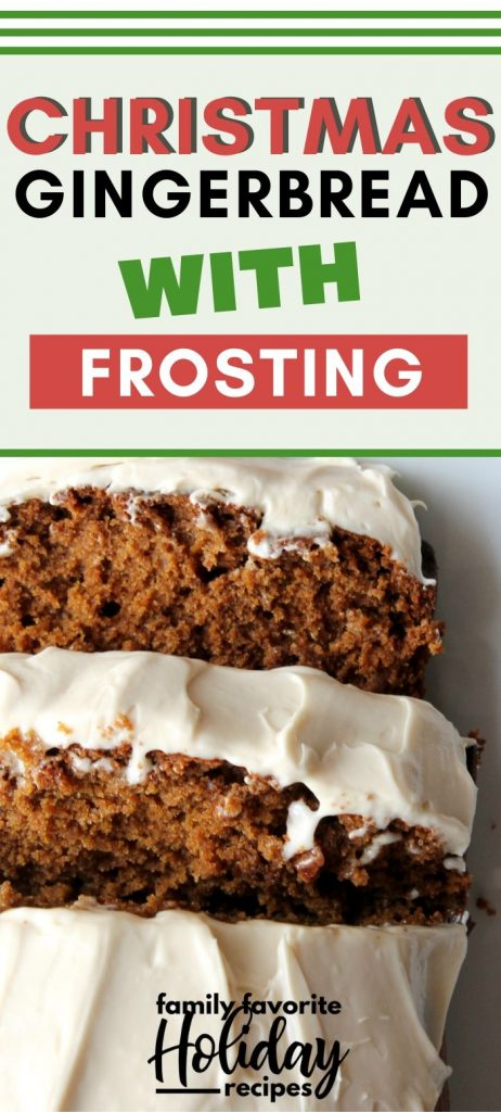 sliced loaf of gingerbread topped with cream cheese frosting