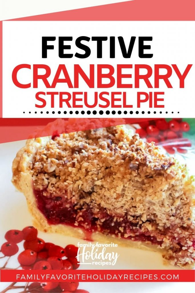 slice of cranberry pie on a plate