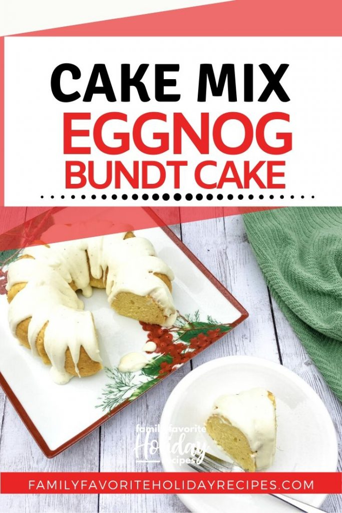 slice of eggnog cake next to the entire cake
