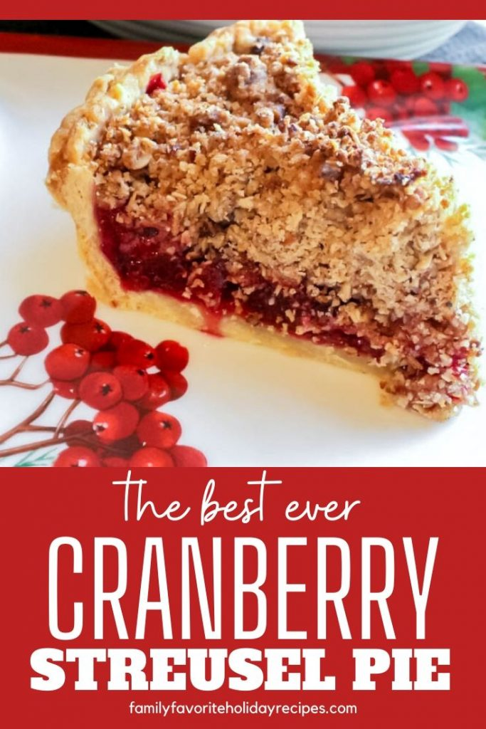 slice of cranberry pie topped with streusel