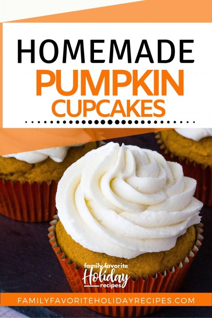 A pumpkin cupcake topped with boiled milk frosting