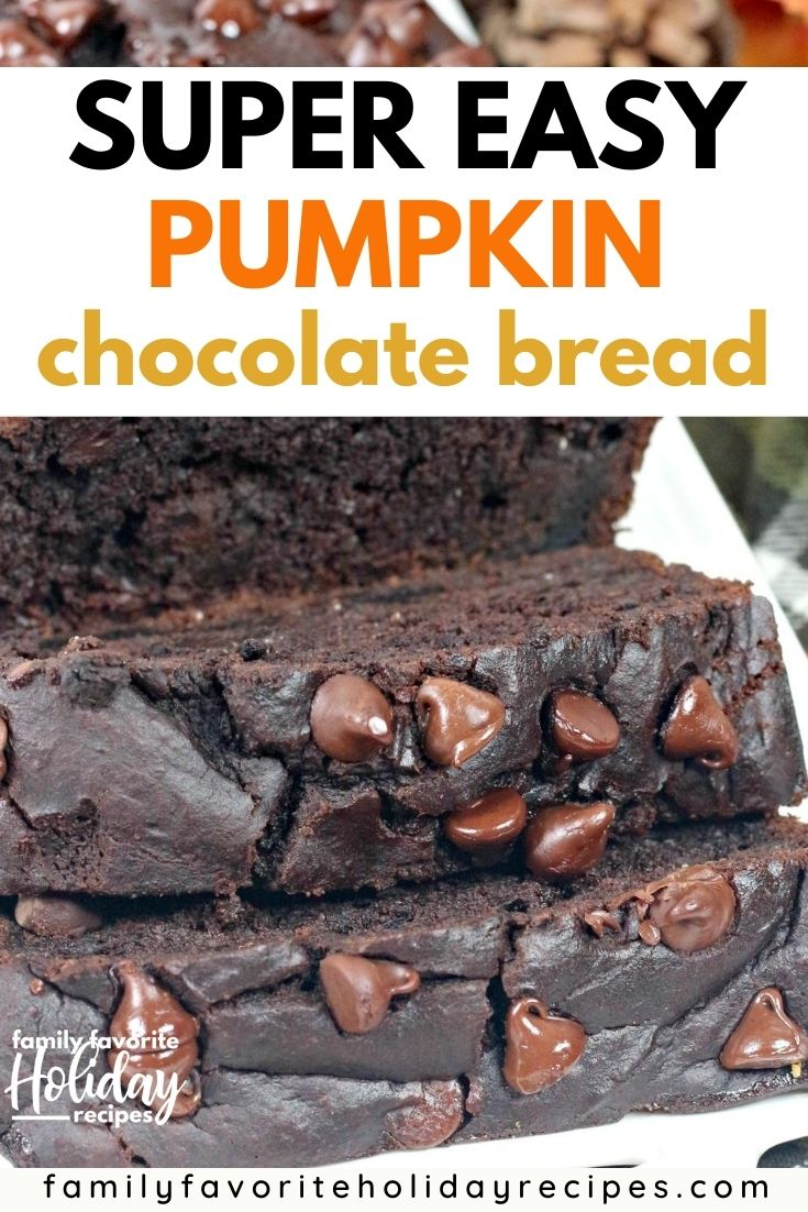 sliced loaf of chocolate pumpkin bread