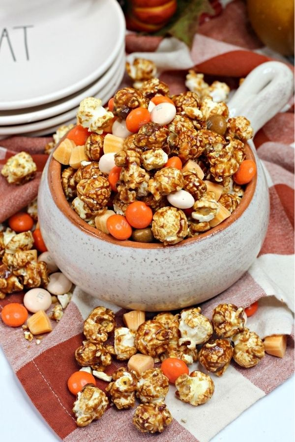 pumpkin spice caramel corn in a bowl
