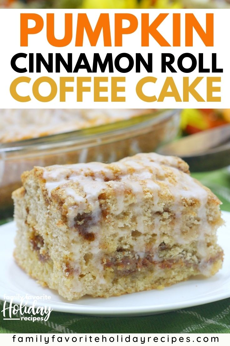 square of pumpkin cinnamon roll coffee cake on a white plate