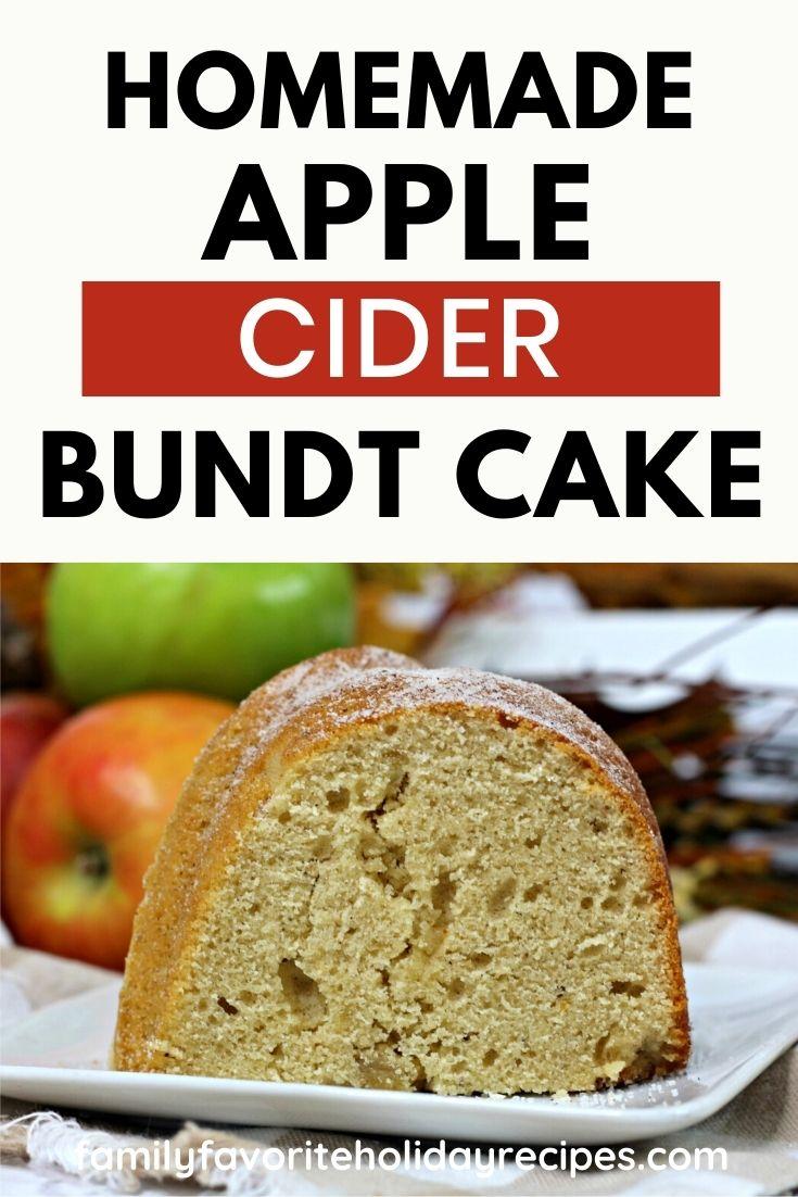 slice of apple cider donut bundt cake next to some apples