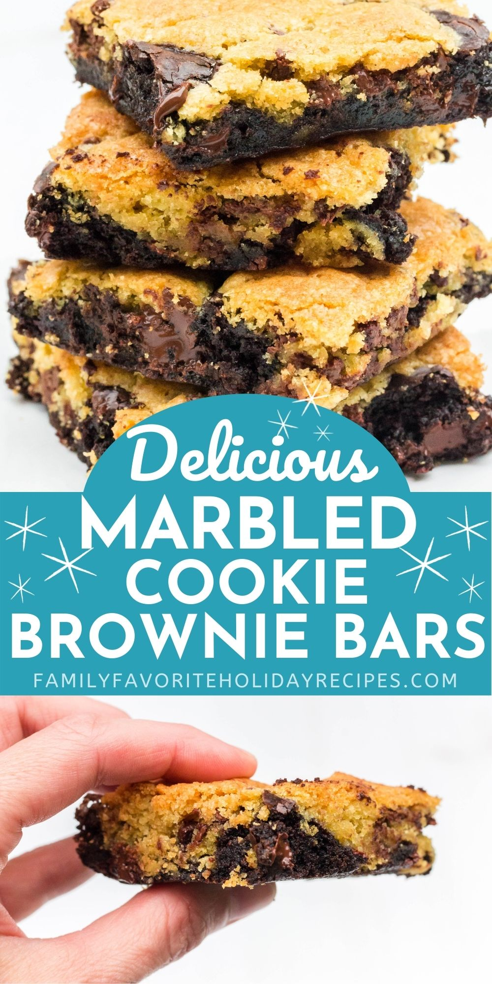 collage image featuring a stack of marbled cookie brownie bars and a hand holding a bar