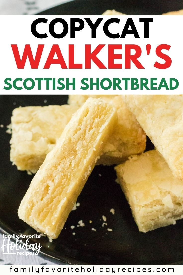 Homemade version of Walker's Scottish shortbread cookie fingers are served on a black plate