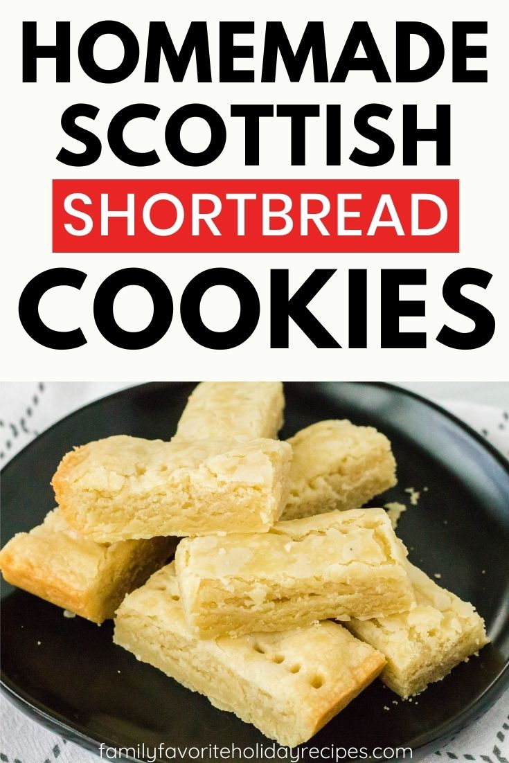 Seven homemade Scottish shortbread cookies are stacked on a black plate