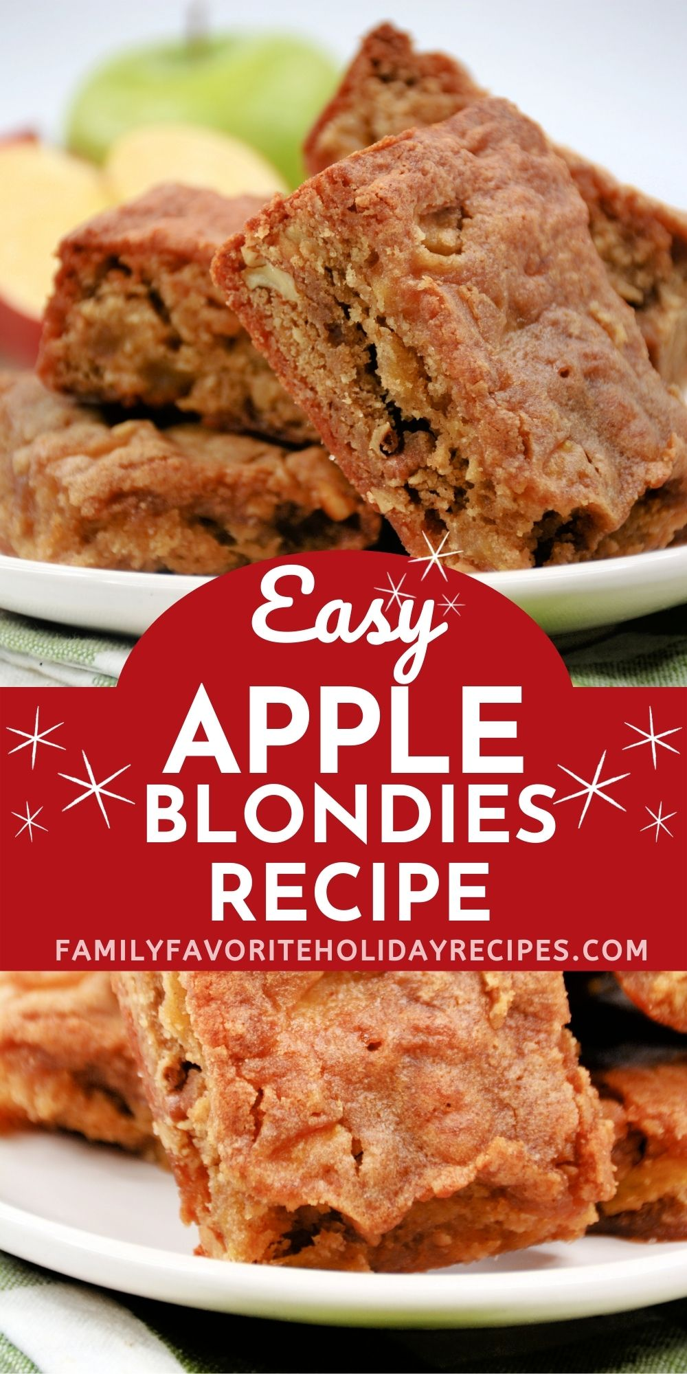collage image featuring two photos of apple blondies. One is a close-up and the other is several on a serving plate.