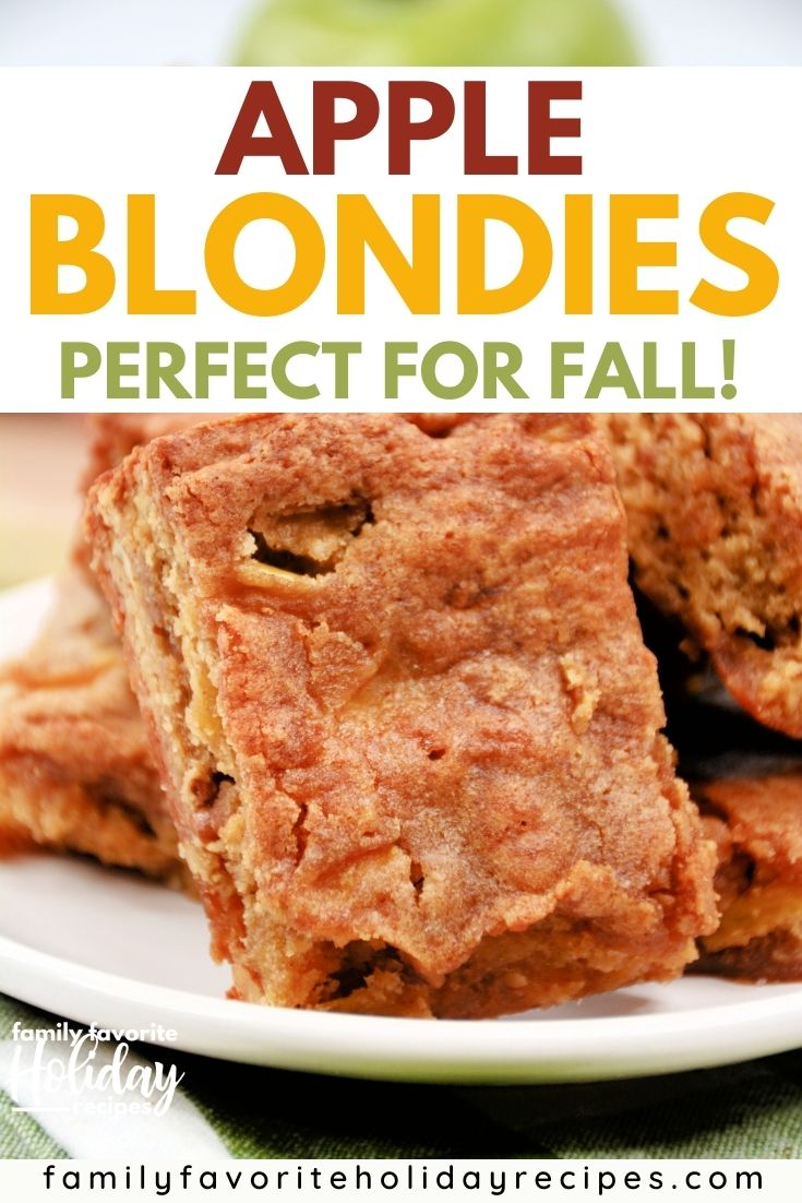 close-up of a stack of apple blondies on a white plate