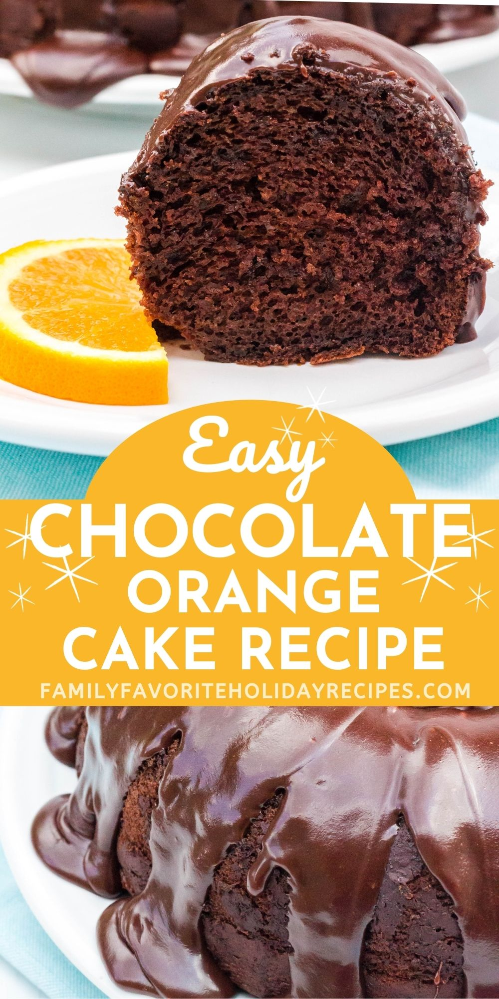 collage image featuring two photos of the chocolate orange bundt cake; one photo is a slice of cake and the other shows the frosting drizzled over the cake