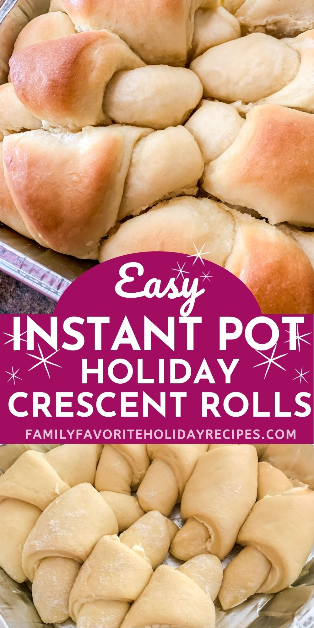 collage image featuring unbaked and baked crescent rolls in foil pans