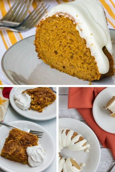 collage image featuring three pumpkin desserts made with boxed cake mix