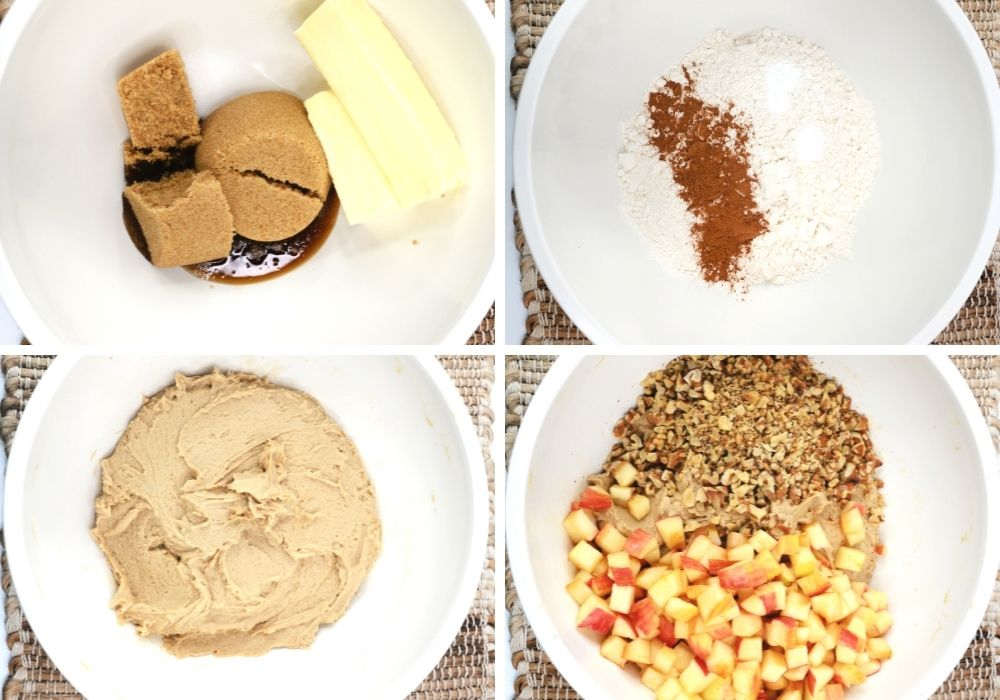 collage image featuring four photos of the steps to make the apple blondie batter