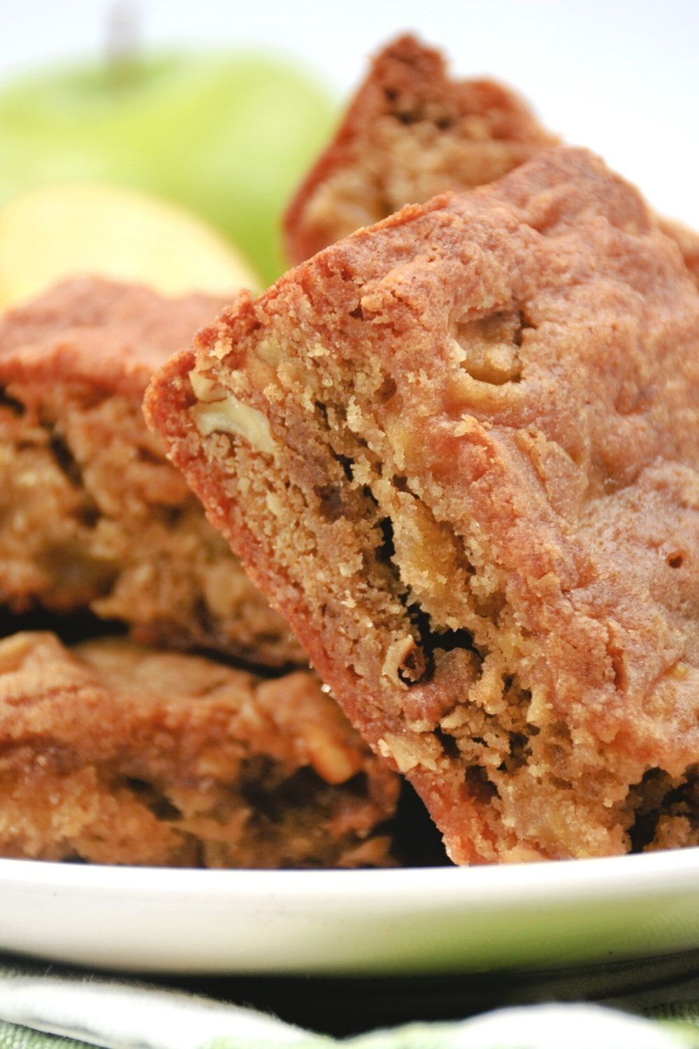 close-up of the interior of an apple blondie bar
