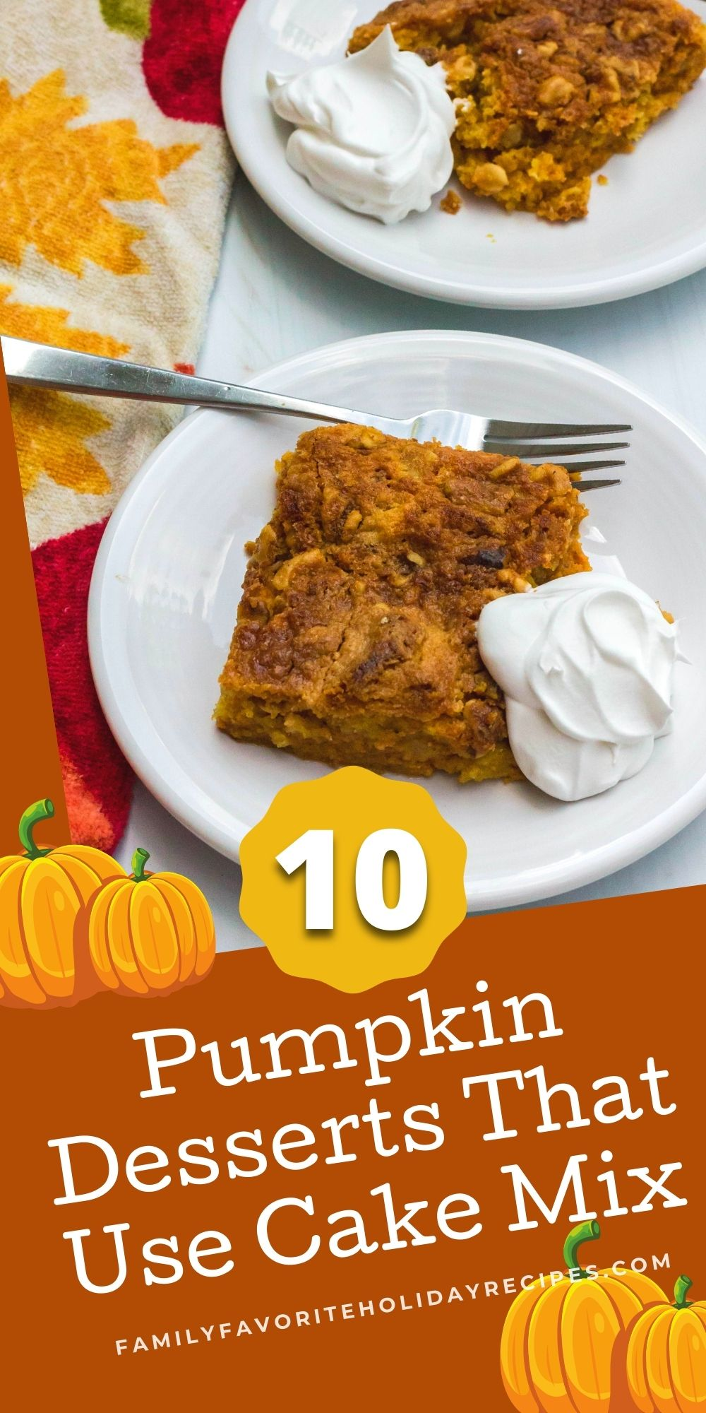 pumpkin crunch cake, which is a pumpkin dessert made with cake mix, on a white plate.